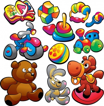 baby toys icons colorful handdrawn sketch