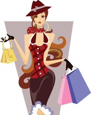 fashion lifestyle painting shopping girl icon cartoon character