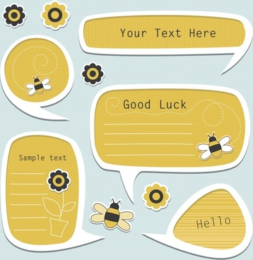 vector cartoon bee tabbed dialogs
