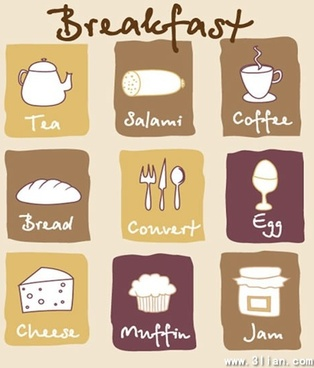 breakfast design elements food drink icons handdrawn sketch