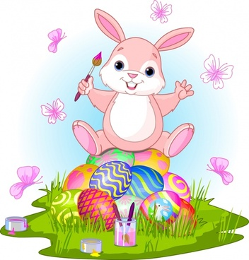 easter background joyful bunny decorated eggs cartoon design