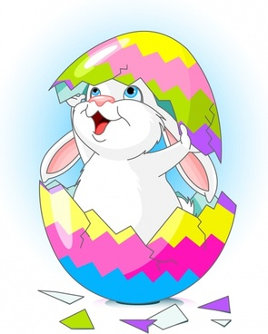 easter background cute bunny hatched egg cartoon design