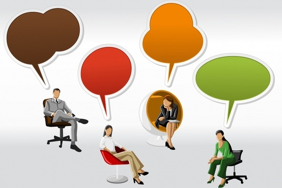 vector cartoon characters seats and dialog
