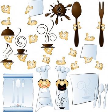 food drink design elements hands utensils cooks sketch
