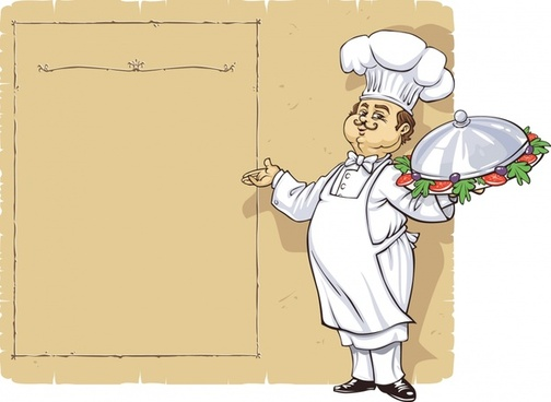 menu background cook icon cartoon character classical design