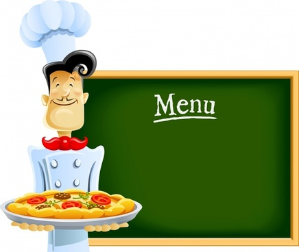 restaurant menu background board cook sketch cartoon design