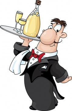 waiter career icon funny cartoon character sketch