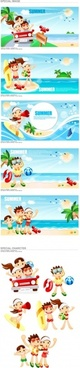 vector cartoon clip boys and girls at the beach