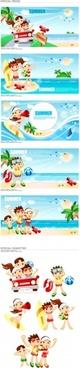 Vector cartoon clip boys and girls at the beach