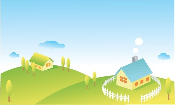 vector cartoon country cottage