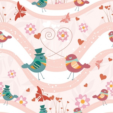 vector cartoon cute love birds