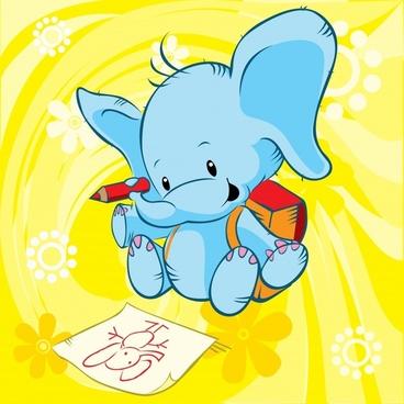 decorative background stylized elephant sketch cute cartoon character
