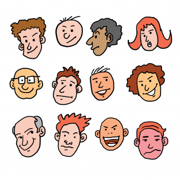 vector cartoon face many races