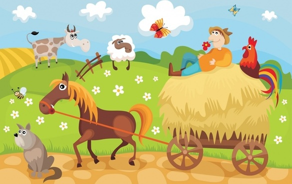 farming scene background colorful decor funny cartoon design