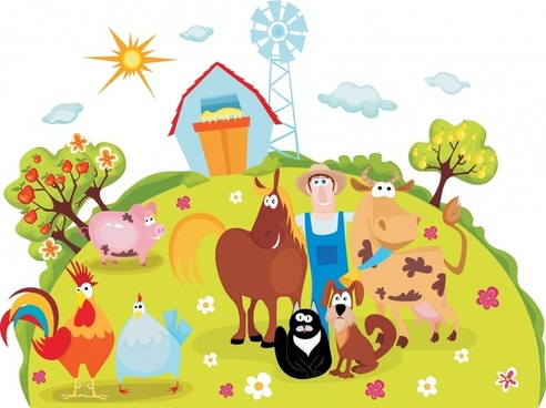 farmland background funny cartoon sketch colorful design