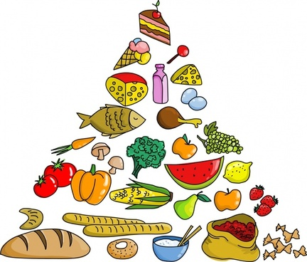 nutrition tower background food icons triangle layout