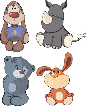 vector cartoon funny animals set