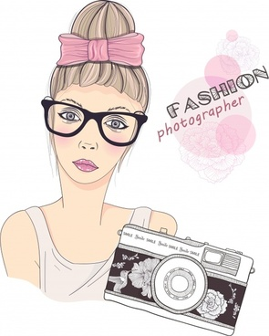 vector cartoon girl beauty photography