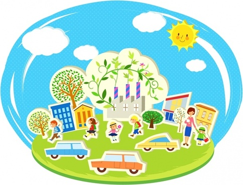 ecology background people trees car icons cartoon sketch