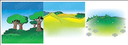 Vector cartoon landscape material