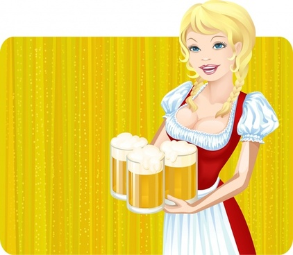 beer festival advertising background classic costume lady sketch