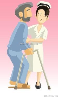 vector cartoon nurse helping patients
