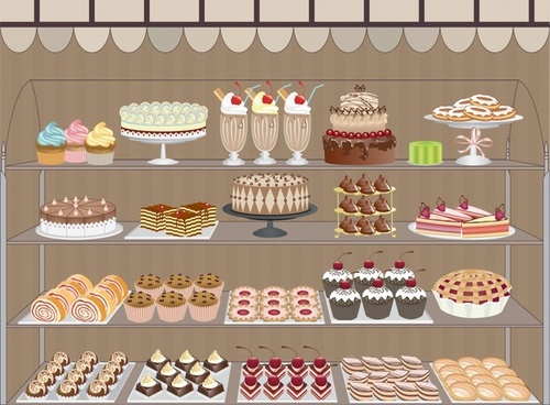 vector cartoon pastry shop