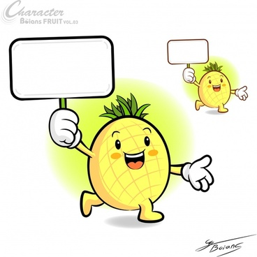 pineapple icons cute stylized cartoon character