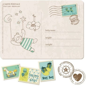 birth postage stamps templates cute retro design