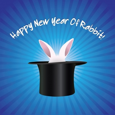 rabbit new year banner template magic hat icons