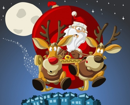 vector cartoon santa claus christmas gifts