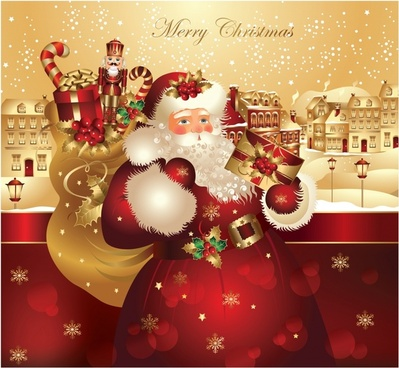 vector cartoon santa claus gift