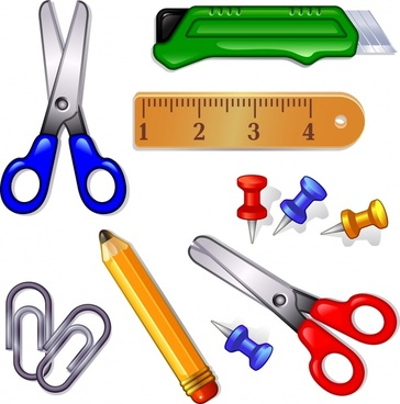 vector cartoon school supplies