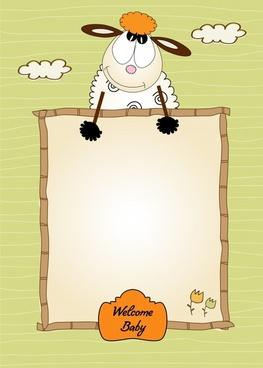 baby background template cute cartoon sheep handdrawn sketch