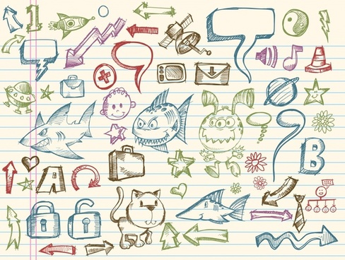 picture book elements handdrawn symbols sketch