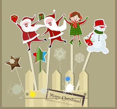 vector cartoon snowman santa claus tag pendant