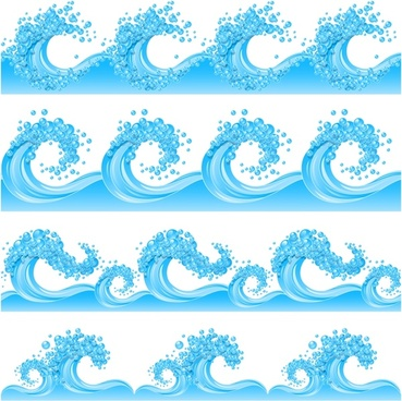waves icons dynamic modern sketch blue design