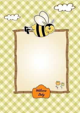 baby birth background cute flat handdrawn bee sketch