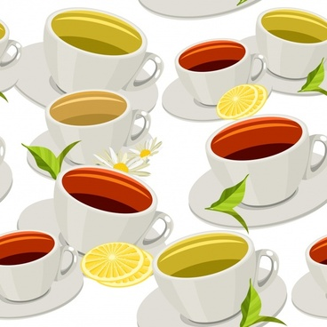tea cup pattern colorful 3d decor repeating design