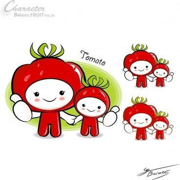 tomato costume icons cute kids cartoon characters