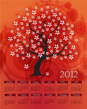 vector cartoon tree 2012 calendar