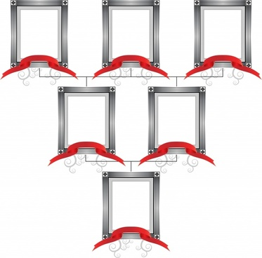 frames templates classical design 3d red ribbon decor