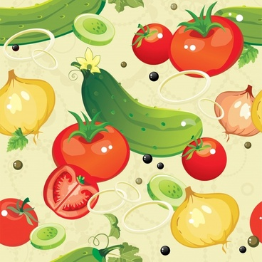 vegetables pattern bright colorful flat handdrawn