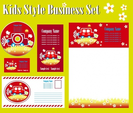 corporate identity sets cute red car decor
