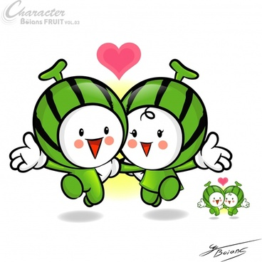 watermelon icon stylized design cute cartoon characters