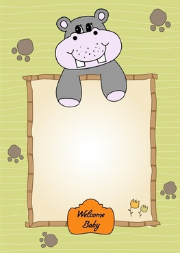 baby shower background cute hippo sketch handdrawn decor