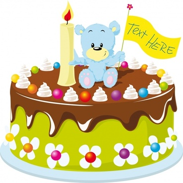 vector cartoon winnie the cake candles
