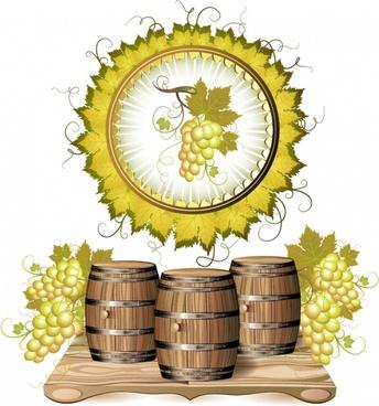 vector cask wine grapes