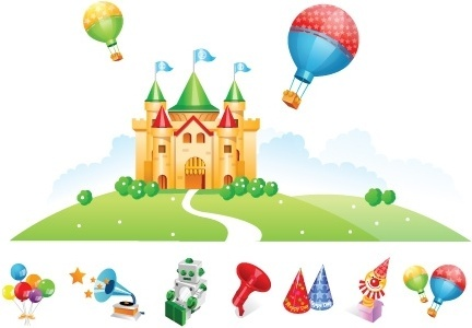 kids toys advertisement colored castle and symbol icons