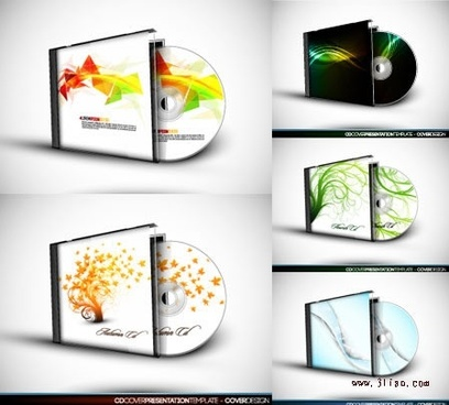cd box templates colored modern abstract season themes